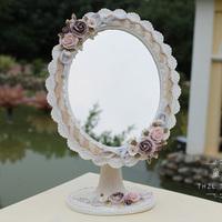 Fashion vintage cloth princess lace desktop mirror makeup mirror dresser in the mirror rustic resin table mirror 03 -