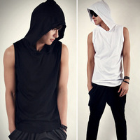 Free shipping 2014 new . Men's T-Shirt Male casual sports style with a hood sleeveless shirt