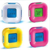 Free shipping Gift rotating induction colorful four minutes timer multifunctional led alarm clock