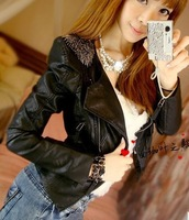Women Spring Slim Epaulette Jacket Cardigan Leather Clothing Short Design Overcoat