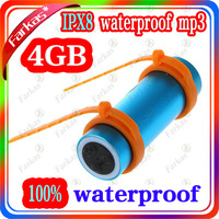 High quality free shipping 100% IPX8 waterproof mp3 player FM radio 4G with waterproof earphone+USB+Sleeve and Arm brand