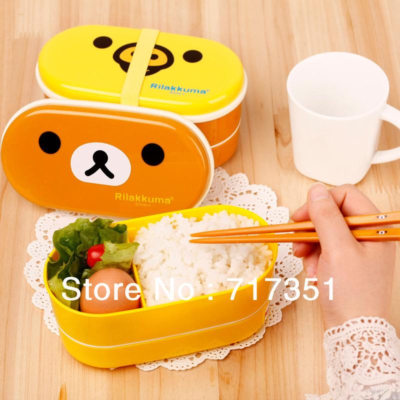 Free shipping 2 colors Relax Bear heat preservation lunch box Rilakkuma Bento with Chopsticks hot selling K1005(China (Mainland))
