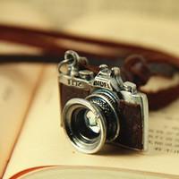 (Min order $10USD) Cool Vintage Camera Pendant Men Woman Fashion Genuine Leather Chain Necklace
