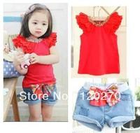 Summer Girls 2pcs Clothing Set Girl's Red T-shirt + Short Pants Jeans Children's Short Sleeve Clothes Suits Kids 2 Piece Set