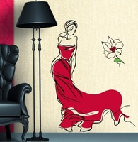New Wall stickers  Beautiful Lady Wall Paper Large Size 100*110CM More Colors Option Free shipping