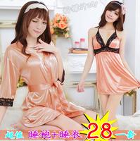 Female noble elegant faux silk temptation translucent sexy sleepwear nightgown twinset