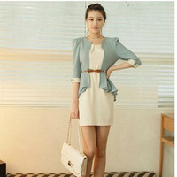 2014 new fashion korean style cute ladies faux two piece dresses chiffon with fifth sleeve with belt, size S/M/L/XL