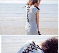 Summer women's dresses Bind long dress Long beach dress Spaghetti strap one-piece dress   Striped  Free shipping