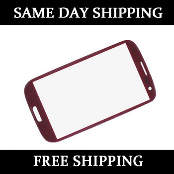 Red LCD Screen Faceplate Outer Glass Lens for Samsung Galaxy S3 SIII i9300+tools free shipping