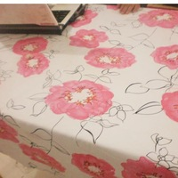 100% pink cotton canvas fabric pink flower graphic patterns piaochuang pad table mat cloth free shipping