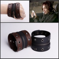Genuine leather punk personality zipper bracelet leather bracelet male bracelet lovers fashion punk bracelet rivet