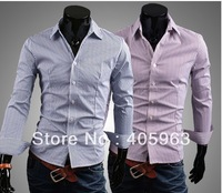 Free shipping 2013 new spring the elegant striped Slim casual striped long-sleeved shirt dropship