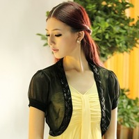 2013 spring small cape chiffon all-match small cardigan handmade beaded shrug outerwear sun protection clothing