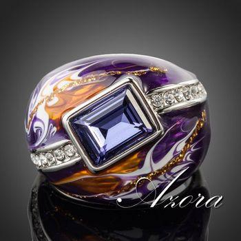 Азора королевский дизайн покрынная платина Stellux австрийский Multicolour маслом шаблон кольцо TR0092