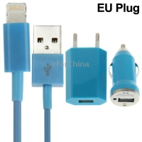 3 in 1 (EU Plug Home Charger, Car Charger, USB Cable) Travel Kit for iPhone 5, iTouch 5 (Blue)(China (Mainland))