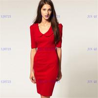 2013 new ladies fashion doll collar lapel Slim Dress 7977