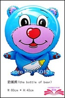 free shipping The bottle of bear shape foil balloons ,animal shape cartoons balloon.   size 59x43cm