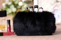 HOT HOT 2013 elegant black clutch party wedding fashion  rabbit leather evening bag for luxurious lady 10012