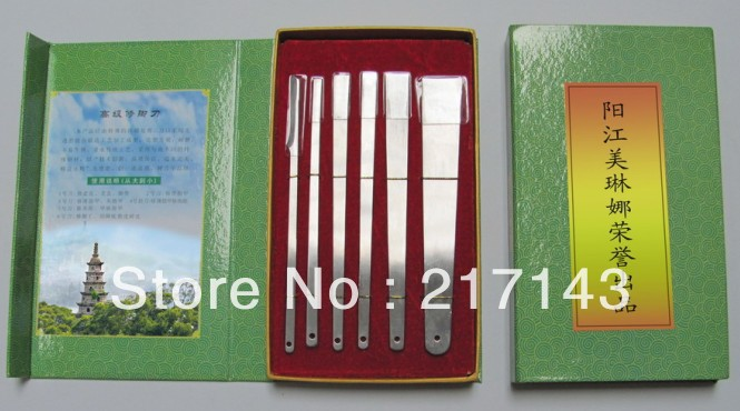 6pcs high end quality stainlesss steel pedicure cuticle knife sets,dead skin pedicure knife,beauty packing(China (Mainland))