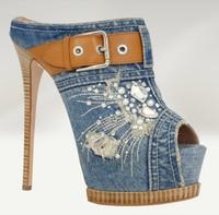 New Fashion Women Thin High Heels Sandals Denim Buckle Summer Slides Platform Summer Shoes Peep Toe Gladiator Women Pumps