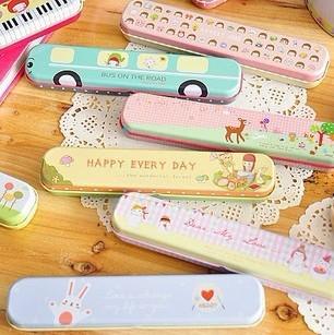 Free Shipping Cartoon Pattern Long Pencil Box Mini Portable Stationery Box,Promotion Gift Stationery Retail