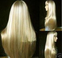 Fashion long blonde straight human made hair wig