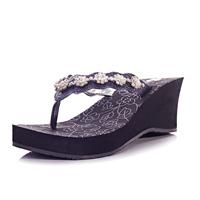 2013 Women's summer shoes sandals for women Fashion High Heels Sandals Platform Wedge Rhinestone Flip Flops Beaded sandalias