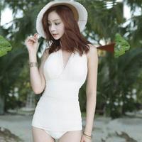 Black white sexy halter-neck suspenders pad women's bikinis none trigonometric one piece swimwear swimsuit