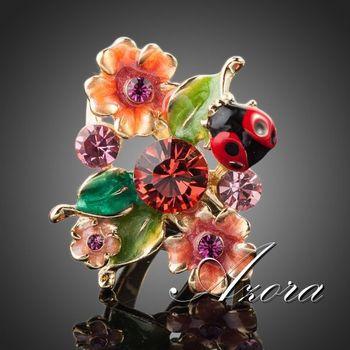 Азора 18 К настоящее позолоченные Stellux австрийский хрусталь многоцветной насекомые и цветок кольцо TR0087