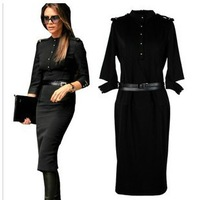 Free shipping 2013 new autumn victoria beckham star style slim waist hip half sleeve one-piece dress black long dress with belt