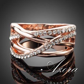 Азора классический 18 К роуз позолоченные прозрачный Stellux австрийский хрусталь кольцо TR0088