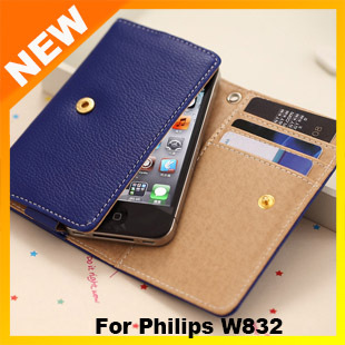 2013 New Luxury PU Leather Protective Flip case cover for Philips cell phone W832 Free shipping MOQ 1PCS+GIFT