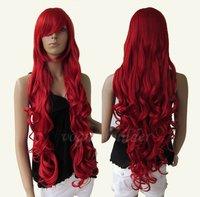 "33"" Heat resistant Long Bang Dark Red Spiral Wavy Cosplay Party Hair Wig"