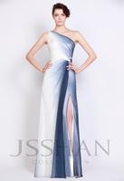 12P097 One Shoulder Ruching Side Split Column Chiffon Luxury Gorgeous Unique Brilliant Prom Evening Dress Girls Party Dress