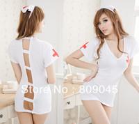 3ps (Lace Dress+2G-string)hot!Sexy babydoll Lingerie/imitate/Sleepwear/Underwear /Uniform /Kimno Costume set  women white2565-1