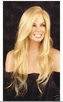 Beautiful long blonde wavy human made hair full wig Brazilian fashion