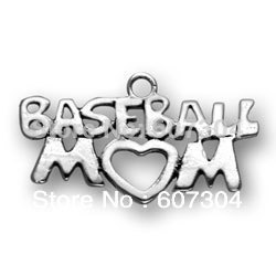 free shipping 15pcs a lot 2013 newest sporty antique silver plated baseball mom charm jewelry accessory