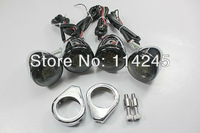 motorcycle signals Smoke&Chrome LED Turn Signals Blinker For Harley Davidson Chopper With 41mm Legs