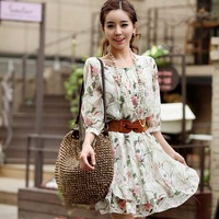 2013 spring women's slim plus size summer chiffon one-piece dress spring basic skirt