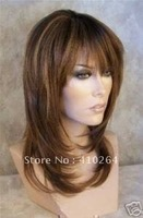 free shipping pretty long brown health hair lady's wig+cap+gift wig wigs
