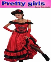 Best Selling Cancan Dress Costume, Red Sexy Costume Dress, Long Dress
