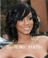 Stylish Casual Medium length wavy Hair Wig Black curly wigs Free Shipping sww3