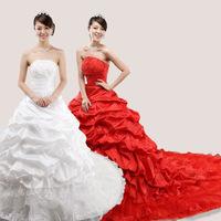 Wedding dress train tube top wedding dress formal dress  red wedding dress