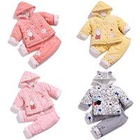 Baby autumn and winter pure wadded jacket set thickening newborn supplies