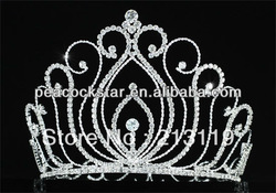 "Wholesale Vintage Style Pageant Tall 5.25"" Tiara Full Circle Round Crystal Crown CT1725(Hong Kong)"