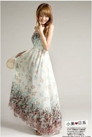 Free shipping The new spring 2012 han edition dress lady Bohemian dress chiffon floral skirt with shoulder-straps dress