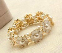 Hot Sale Min Mix Order $10, Elastic Little Daisy Pearl Petal Bracelet For Women, 2013 New Fashion Bangles, New Arrival!
