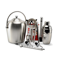 Stainless steel cocktail set  includes shaker ice filter measuring cup ice tong etc cocktail deluxe edition 11 set lq2130