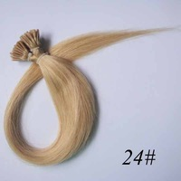 100strands Stick Tipped/I Tip Remy Real Human Hair Extensions Color24#  total 11color  wholesale discount/Free Shipping