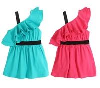 New Free shipping 5pcs/lot children dress/baby girl one shoulder one piece dress for summer/kid elegant magazine dress/ball gown